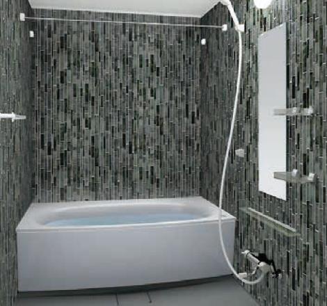 写真:ガラスタイル調壁 4面同一タイプ ガラスタイルブラック・ミディアムグレー
