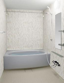 写真:ガラスタイル調壁 4面同一タイプ ガラスタイルホワイト・ミディアムベージュ