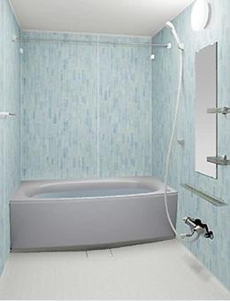 写真:ガラスタイル調壁 4面同一タイプ ガラスタイルクリア・ミディアムホワイト