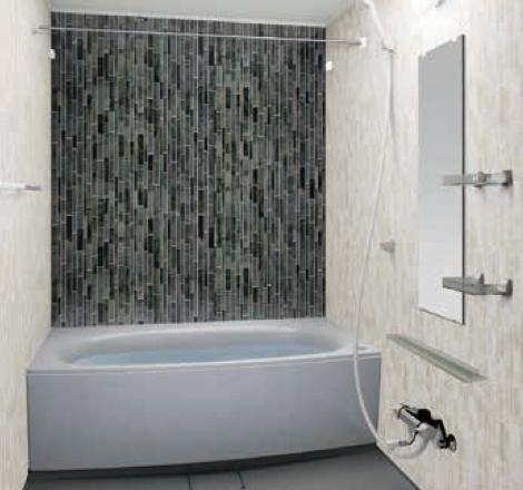 写真:ガラスタイル調壁 アクセントタイプ ガラスタイルブラック・ガラスタイルホワイト・ミディアムグレー