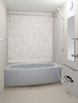 写真:ガラスタイル調壁 アクセントタイプ ガラスタイルホワイト・アイスラックグレー・ミディアムベージュ