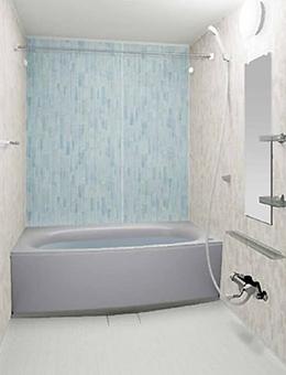 写真:ガラスタイル調壁 アクセントタイプ ガラスタイルクリア・ガラスタイルホワイト・ミディアムホワイト