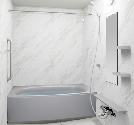 写真:大理石調壁 ドラマホワイト・ミディアムホワイト