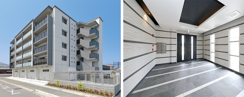 福岡 賃貸マンション 外観とエントランス